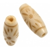 Bone Oval Beads 24x19mm Antique Worked On Bone